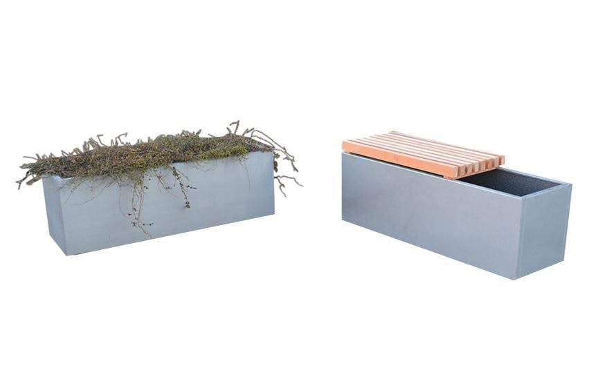 Image of   Højbede i galvaniseret stål med bænk 120 x 40 x 40 cm