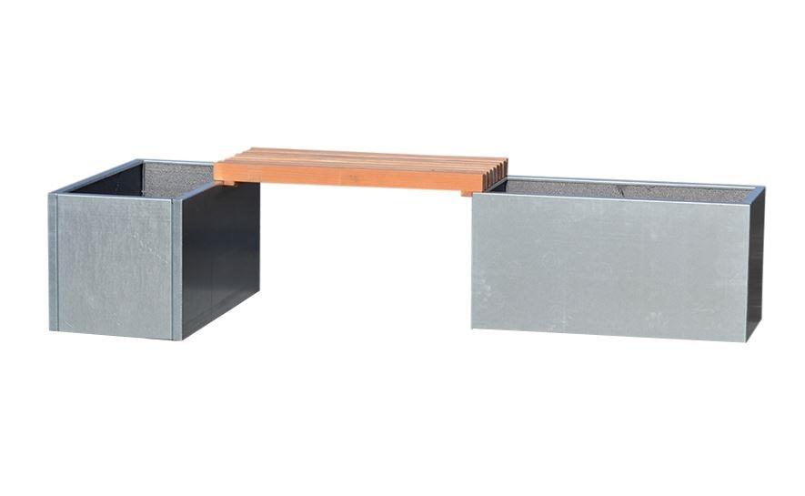 Image of   Højbede i galvaniseret stål med bænk 80 x 40 x 40 cm