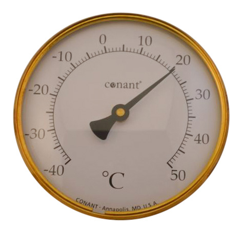 Image of   Rundt termometer i messing