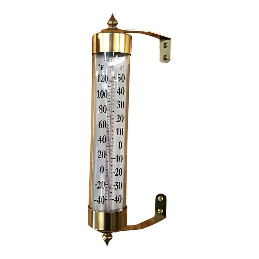 Image of   Stort termometer i messing og glas