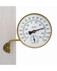 Termometer i messing med hygrometer