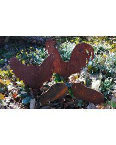 Hønsefamilie i jern
