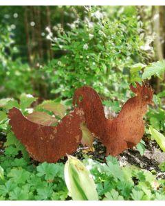 Høne og hane silhuetdyr i jern