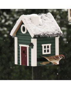 Fuglehus om foråret og foderautomat om efteråret